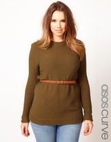 Asos Belted Sweater In Textured Stitch