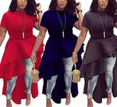 Antique Style Women Casual Short Sleeve Floucing Irregular Basic Shirt Blouse Party Club Dress
