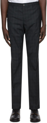 Paul Smith Navy and Green Plaid Trousers