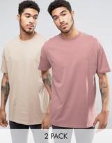 Asos 2 Pack Oversized Longline T-Shirt In Beige/Pink