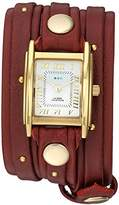 La Mer Women's Quartz Metal and Leather Casual Watch, Color:Red (Model: LMSW8005)