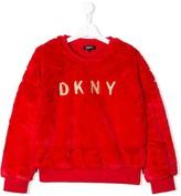 DKNY TEEN contrast logo fluffy jumper