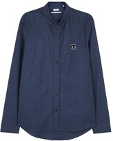 Kenzo Blue Cotton Oxford Shirt