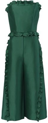 True Decadence Dark Green Strapless Culotte Jumpsuit