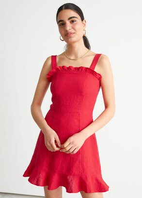 And other stories Linen Ruffle Mini Dress