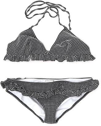 Miu Miu Gingham Ruffle Trim Bikini