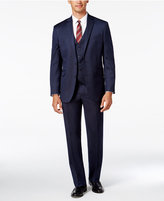 Kenneth Cole Reaction Men's Slim-Fit Navy Tonal Striped Vested Suit