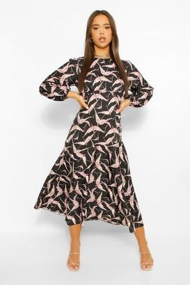 boohoo Bird Print Long Sleeve Midi Dress