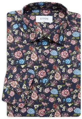 Eton Slim-Fit Floral-Print Dress Shirt