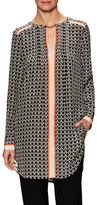 Tracy Reese Printed Pintuck Keyhole Tunic