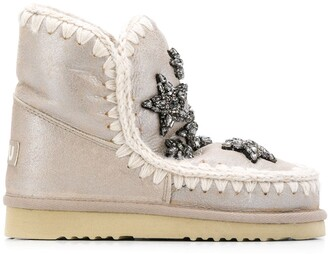 Mou Eskimo applique short boots