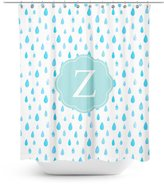 Good4Life [ Z - INITIAL ] Name Monogram Polyester Fabric Bathroom Decor Shower Curtain Set with Hooks [ Watercolor Rain ]