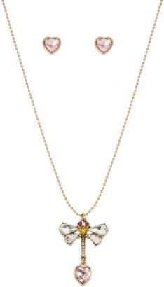 Betsey Johnson Goldtone Crystal Necklace Earrings Set