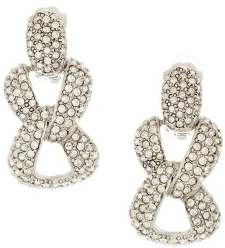 Oscar de la Renta Crystal Pave Chain Link Clip-On Earrings