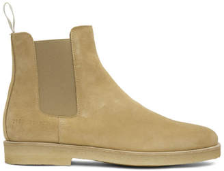Common Projects Tan Suede Chelsea Boots