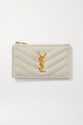 Saint Laurent Monogramme Small Quilted Textured-leather Wallet - White