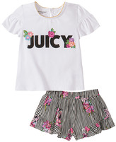 Juicy Couture Girls' Casual Shorts 2020 - White Floral Logo Ruffle-Sleeve Tee & Stripe Floral Ruffle Shorts - Infant, Toddler & Girls