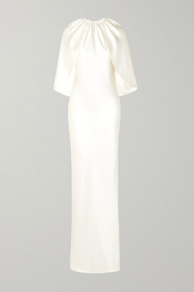Brandon Maxwell Cape-effect Silk-charmeuse Gown - Ivory