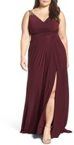 Mac Duggal Plus Size Women's Embellished Shoulder Jersey Gown