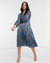 Liquorish wrap dress with balloon sleeves in floral blue print