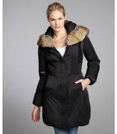 Elie Tahari black down filled and rabbit fur-trimmed 'Nina' hooded coat