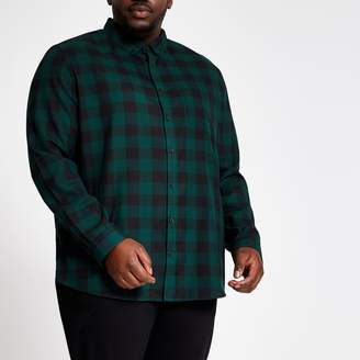 River Island Mens Big and Tall slim fit Green check shirt