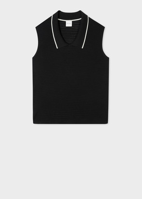 Paul Smith Women's Black Organic Cotton Sleeveless Knitted Top