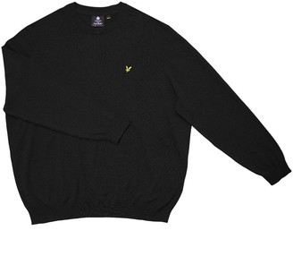 Lyle And Scott Vintage Big Mens Plus Size Cotton Merino Crew Neck Jumper True Black