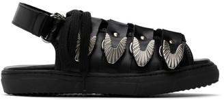 Toga Pulla Black Leather Hardware Sandals