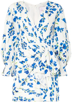 Carolina Herrera Floral Wrap Mini Dress