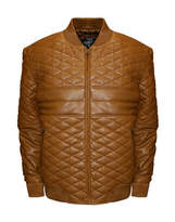 Asstd National Brand Double Diamond Leather Bomber Jacket - Big & Tall