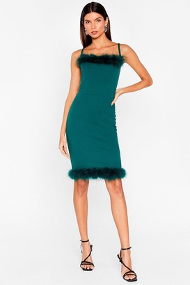 Nasty Gal Womens You're Feather Alone Square Neck Mini Dress - Teal