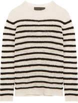 The Elder Statesman Picasso Striped Cashmere Sweater - White