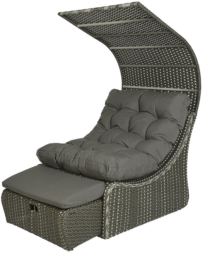 Thumbnail for your product : AMARA Outdoors - Outdoor Wicker Daybed with Roof - Grey