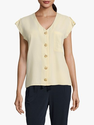 Betty & Co Button Front Cap Sleeve Blouse, Pastel Yellow