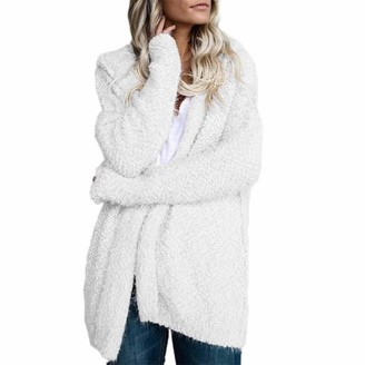 Kolila Coats & Jackets kolila Womens Long Sleeve Solid Faux Fuzzy Fleece Open Front Hooded Oversized Cardigans Sweaters Jacket Coats Outwear (White XXXL)