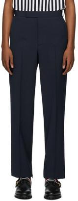 Thom Browne Navy Seersucker RWB Unconstructed Trousers