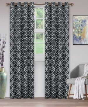 """Superior Soft Quality Woven, Trellis Collection Blackout Thermal Grommet Curtain Panel Pair, Set of 2, 52"""" x 84"""""""