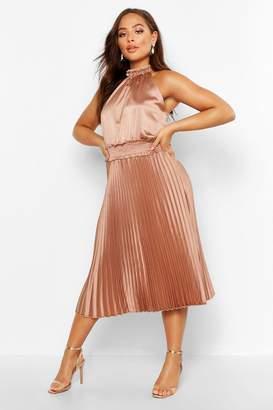 boohoo Pleated Skirt Satin Midi Skater Dress