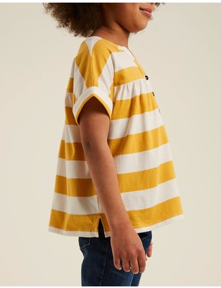 Fat Face Girls Stripe Popover Top - Yellow