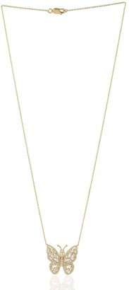 Artisan 18Kt Yellow Gold Butterfly Pendant Choker Necklace Baguette Diamond Jewelry Gift For Women
