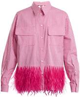 No.21 NO. 21 Gingham feather-trimmed shirt
