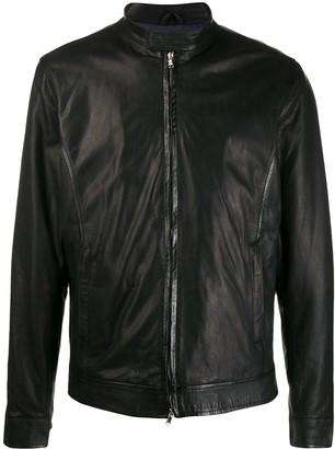 Barba Band-Collar Biker Jacket