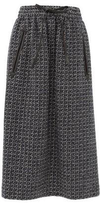 Gucci G-jacquard Leather-trim Tweed Midi Skirt - Blue Ivory