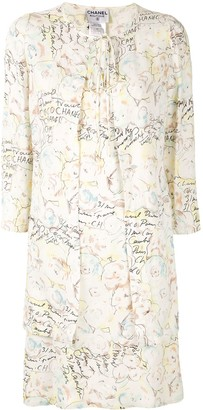 Chanel Pre Owned Scribble Print Dress Suit