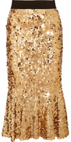 Dolce & Gabbana Ruffled Sequined Tulle Skirt - Gold
