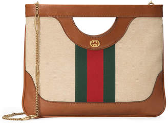 Gucci Vintage Canvas Shoulder Bag