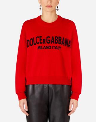 Dolce & Gabbana Cashmere Sweater With Logo Intarsia
