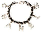 Chanel Leather Logo Charm Bracelet