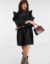 Topshop frill detail mini dress in black